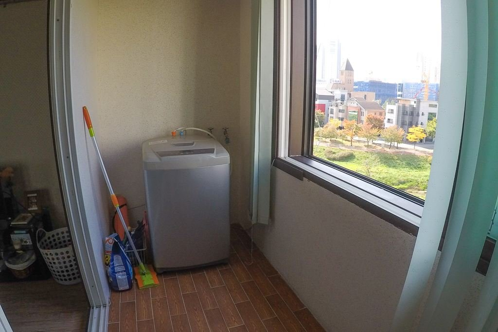 Our balcony and laundry room in our Korea apartment