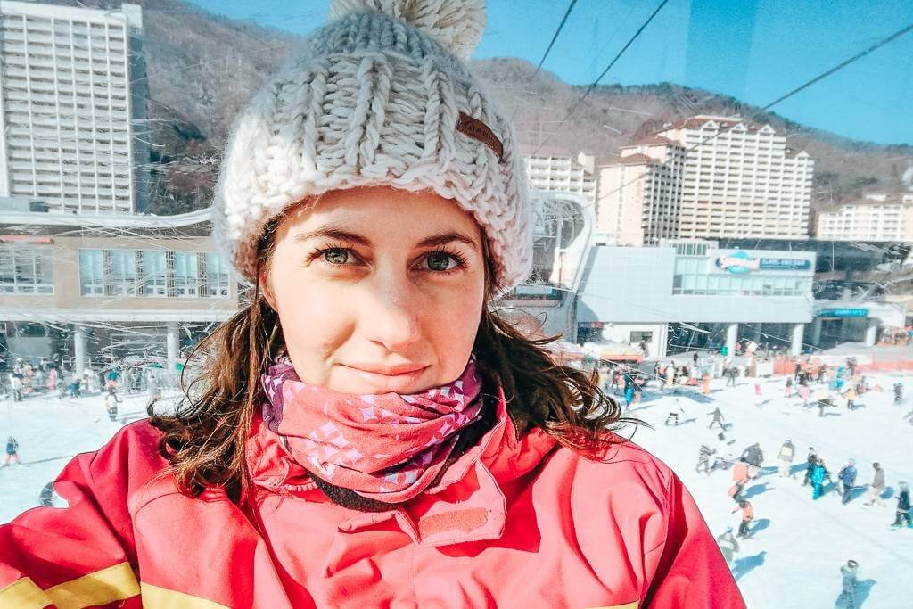 Beanie, buff, gloves… and yes, I was still cold skiing in Korea