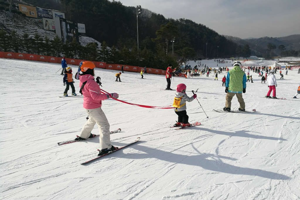 Watching the little kids learn to ski