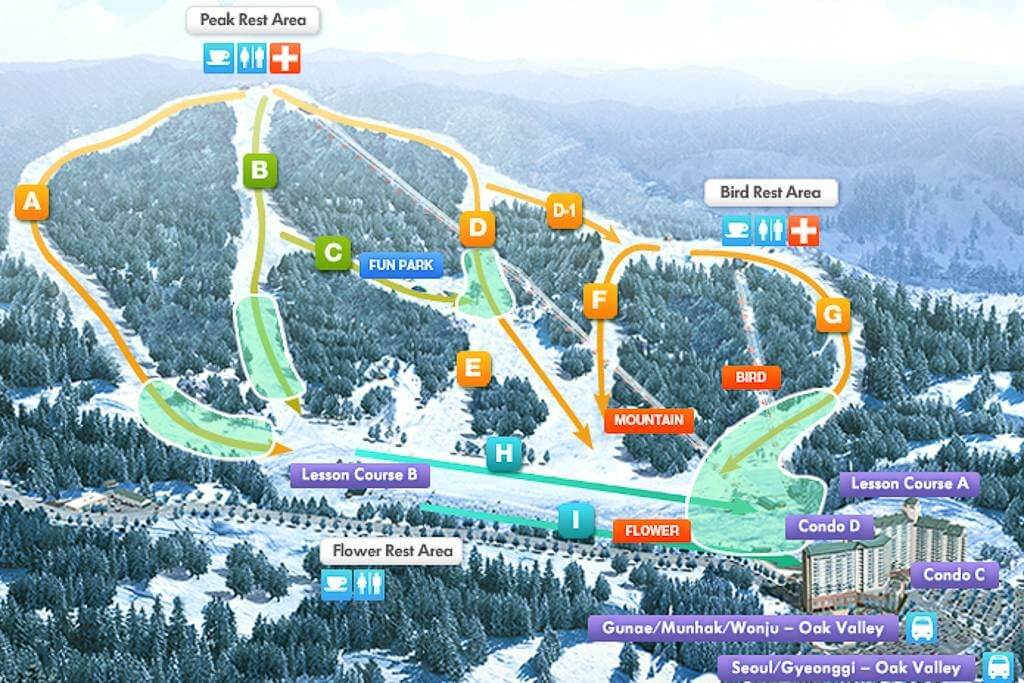 Oak Valley Ski Map