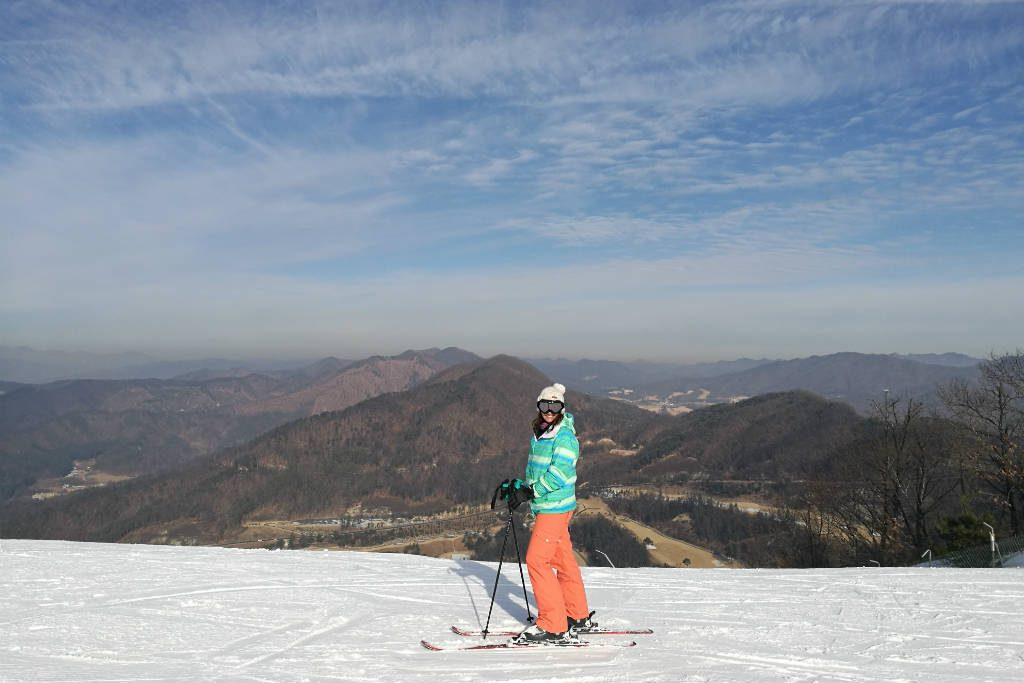 The most beautiful view from Oak Valley Ski Resort in Korea