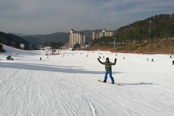 The wide slopes of Oak Valley Ski Resort in Korea