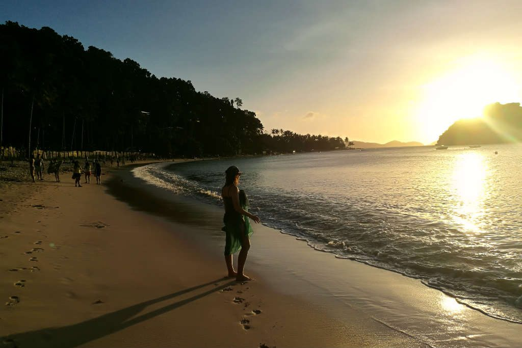 Sunset at Las Cabanas Beach in the Philippines