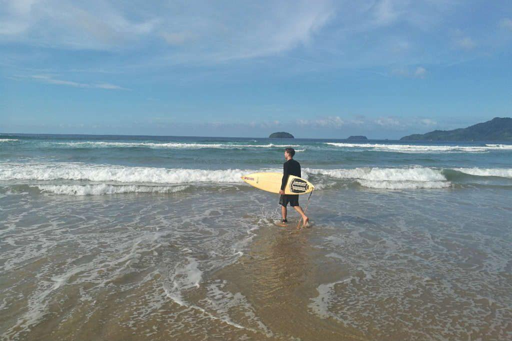 Surfing at Duli Beach in El Nido, Palawan