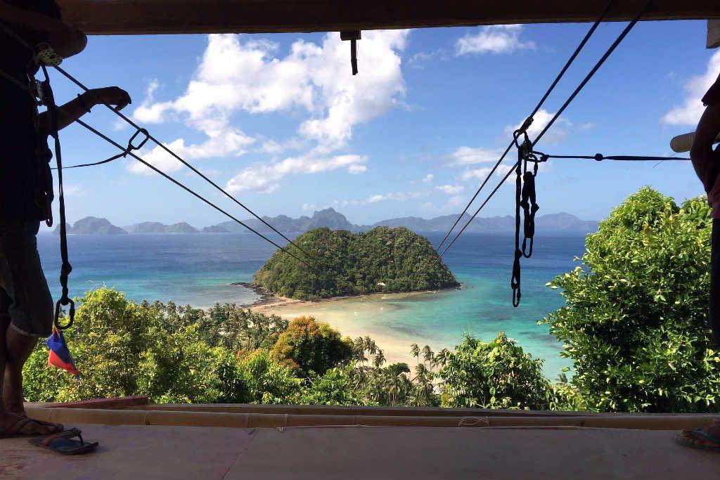 The zipline over Las Cabanas Beach