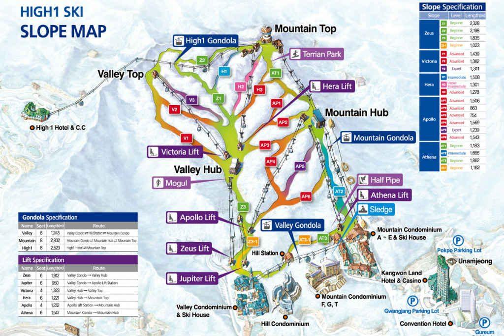 High1 Ski Map