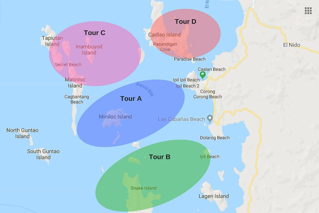Map of the island hopping tours in El Nido