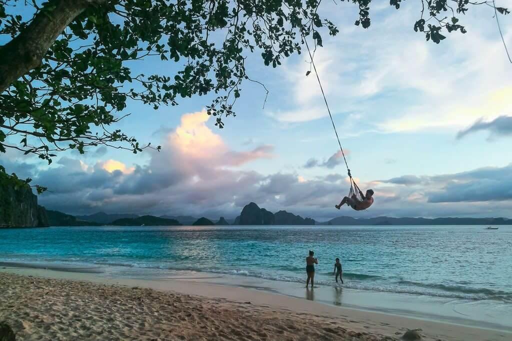 El Nido camping beach swing