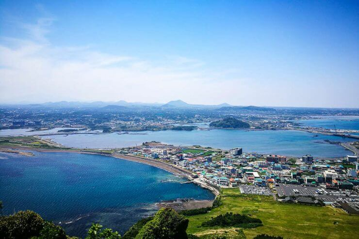 The view of Jeju Island from Seongsan Ilchulbong Peak