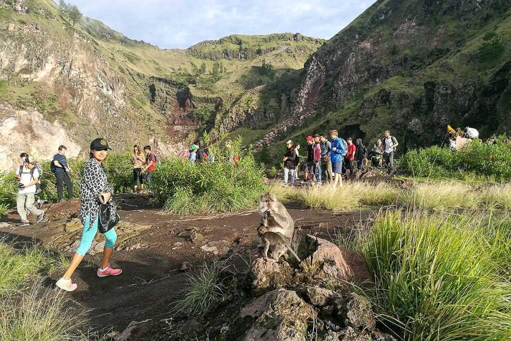 Mount Batur peak overlooking Mt Agung