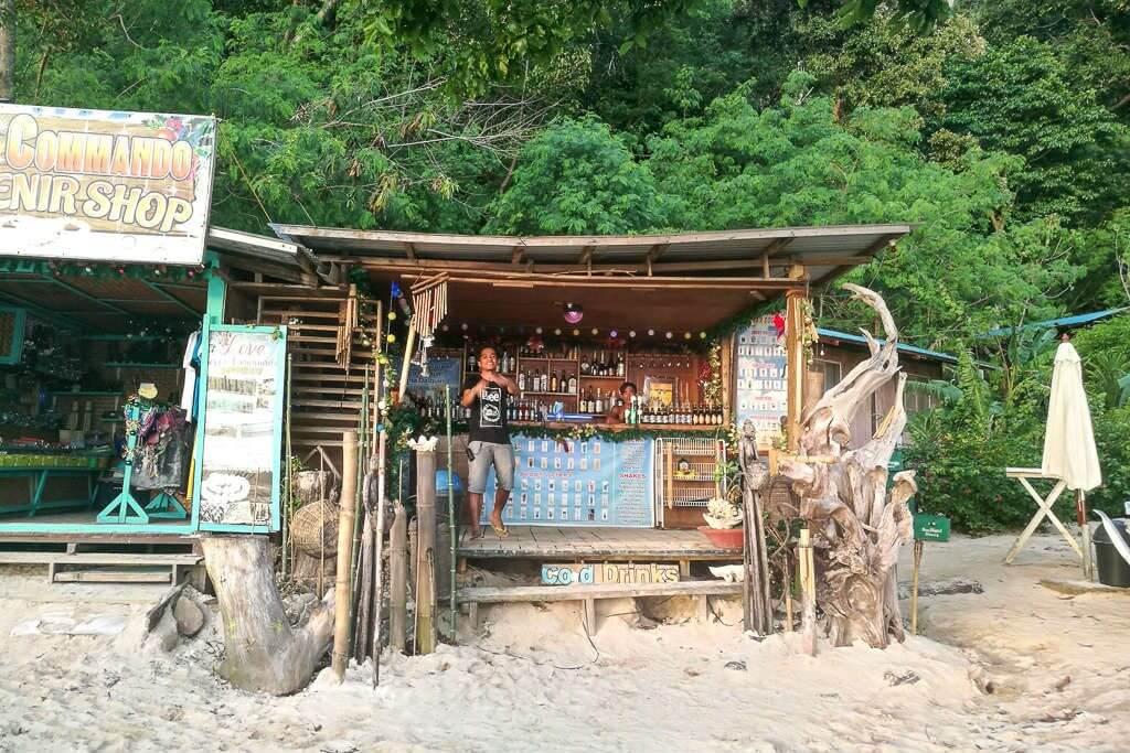 The bar on Seven Commandos Beach in El Nido