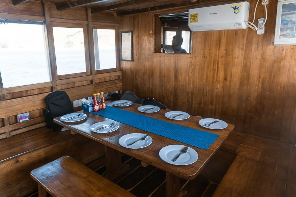 The communal dining area on Tatawa liveaboard