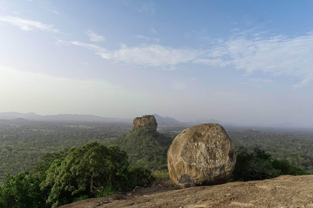 Sigiriya Rock from Pidurangala Rock in Sri Lanka