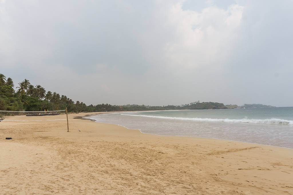 The empty Talalla Beach near Hiriketiya