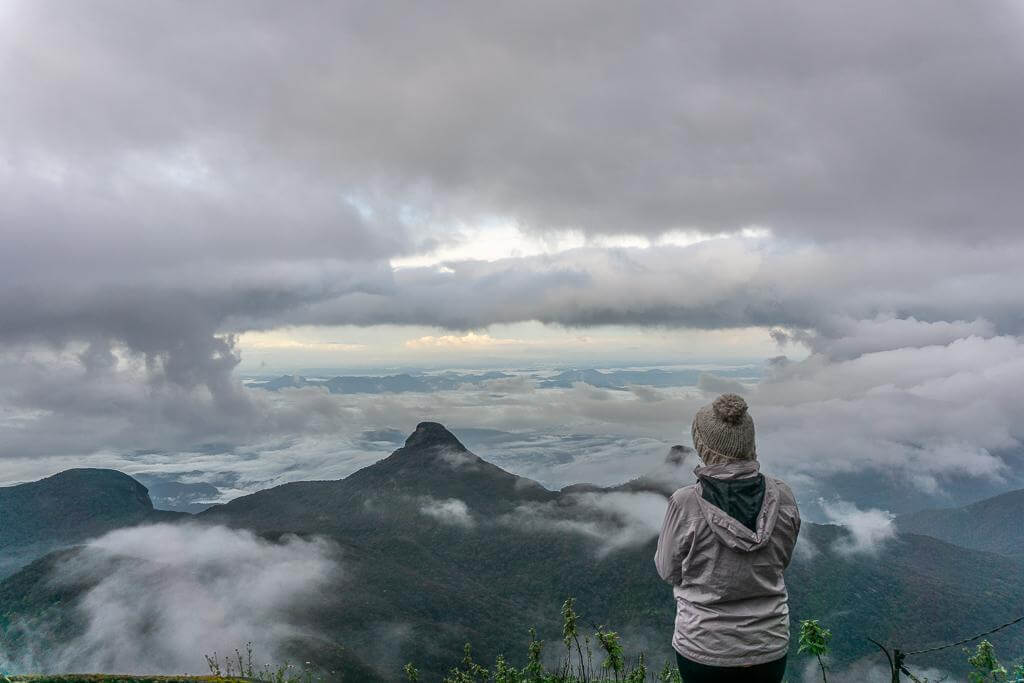 Patiently waiting for the clouds to open up at the top of Adam's Peak in Dalhousie, Sri Lanka