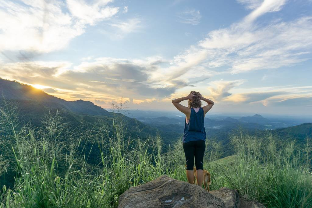 Watching the sunrise from Little Adam's Peak, Ella