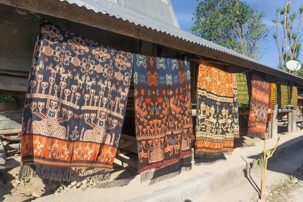 Ikat textiles produced by the local women in Sumba