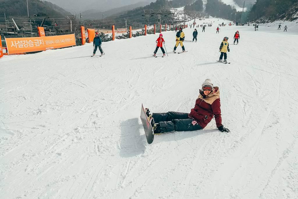 Snowboarding at Bears Town Ski Resort in Korea