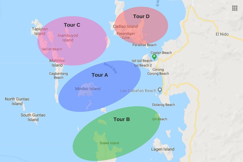 El Nido Tour A, B, C and D locations
