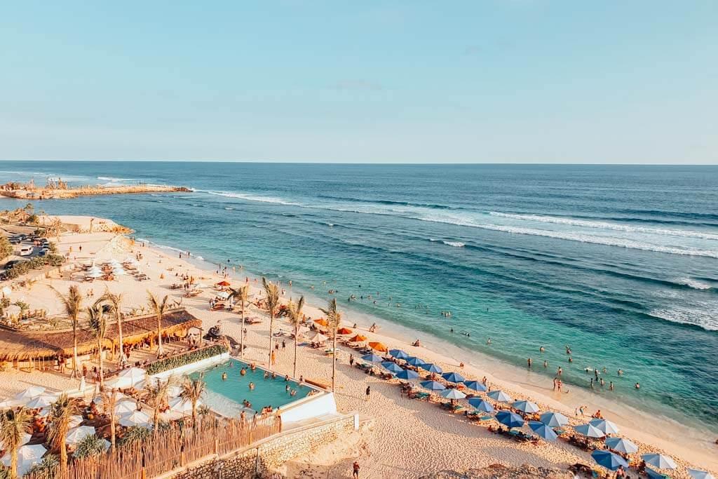 Melasti Beach is a great swimming beach in Uluwatu, Bali
