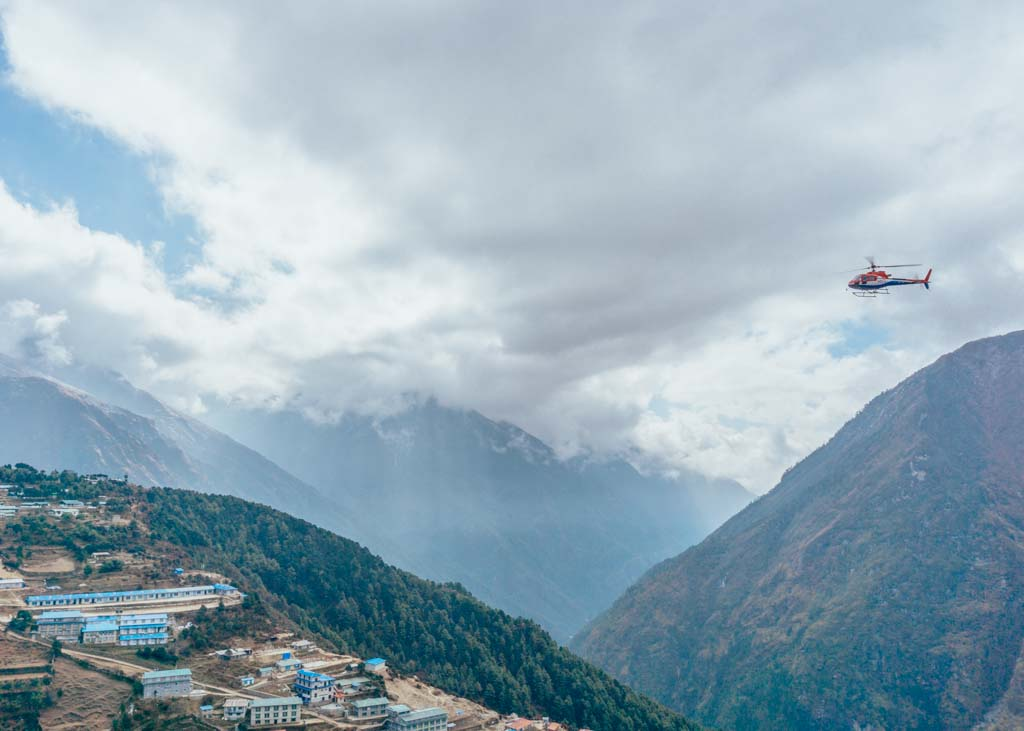 Helicopters on the Island Peak climb