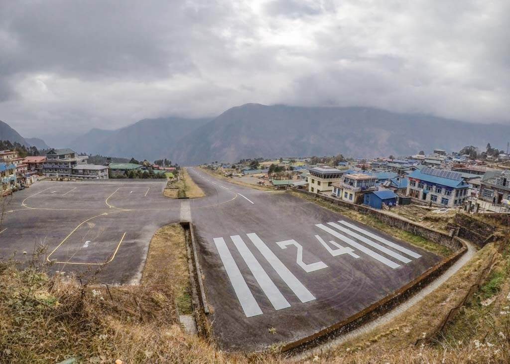 Landing in Lukla airport at the start of my Everest Base Camp Trek with Island Peak