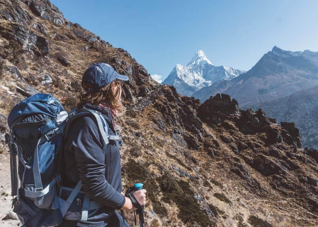 Trekking past Ama Dablam in Nepal