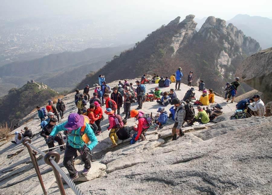 crowds at Baegundae Peak