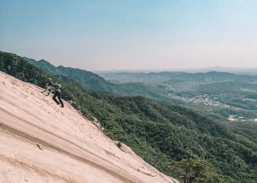 Rock climbing in Bukhansan National Park in Seoul