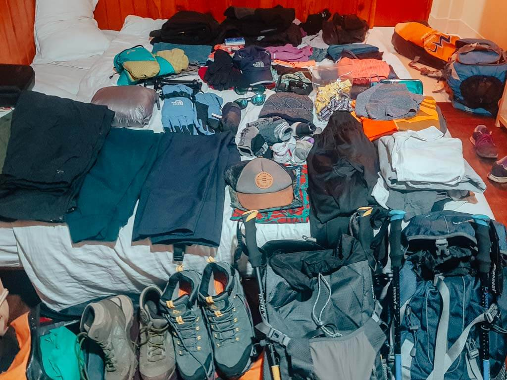 gear and hiking clothes for Everest Base Camp