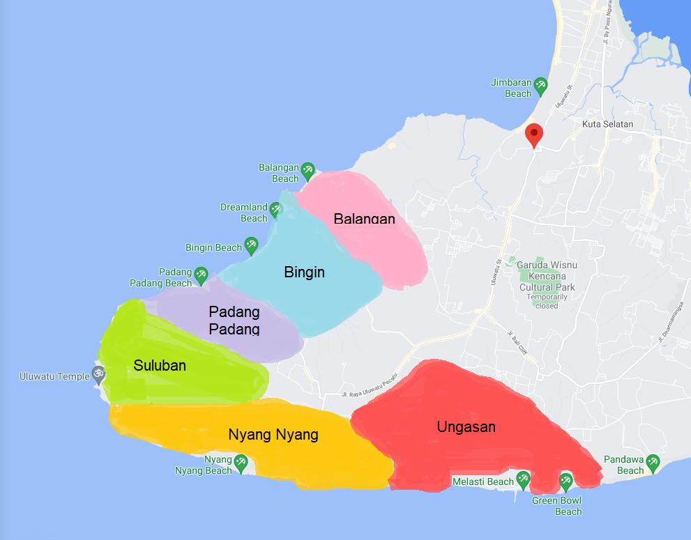 Map of the best places to stay in Uluwatu